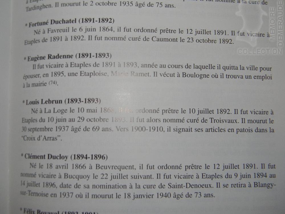 """Extrait du Livre de Pierre BOUDELIQUE - """"Histoire religieuse d'Etaples des origines à l'an 2000"""""""