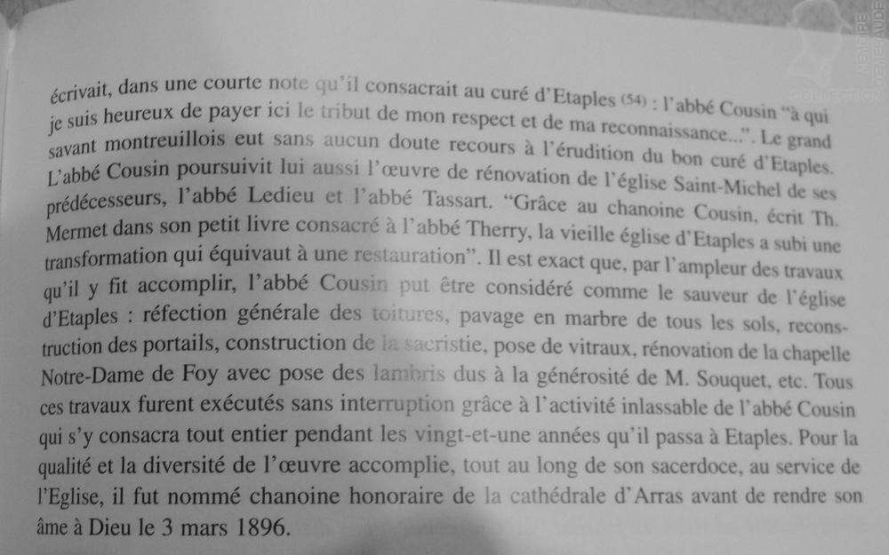 """Extrait du Livre de Pierre BOUDELIQUE - """"Histoire religieuse d'Etaples des origines à 2000"""""""