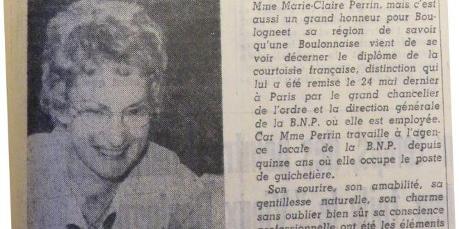 Marie-Claire POHIER - 1973 - Voix du Nord - Diplôme de la Courtoisie Française